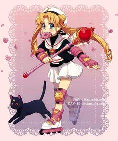 Sailor moon Sakura y pororo él pequeño pingüino