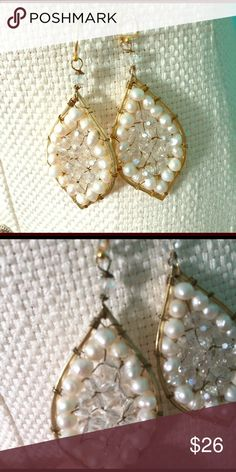 Gold pearl and bead dangle earrings Got from Nordstrom for prom. Worn once! Nordstrom Jewelry Earrings