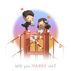 Love is :: Will you Marry me? Cute Couple Cartoon, Cute Cartoon Characters, Cute Love Cartoons, Chibi Couple, Hj Story, Cute Love Stories, Love Story, Anime Chibi, Ah O Amor