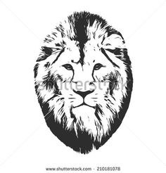 Black and white mask of an Asian lion, isolated on white background. Sketch portrait. Square illustration.