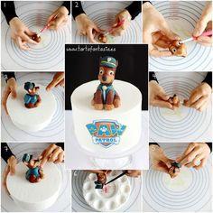 Znalezione obrazy dla zapytania step by step chase paw patrol cake topper Paw Patrol Cupcake Toppers, Paw Patrol Cupcakes, Cake Topper Tutorial, Fondant Tutorial, Fondant Figures, Dog Cakes, Cupcake Cakes, Cake Decorating Tutorials, Cookie Decorating