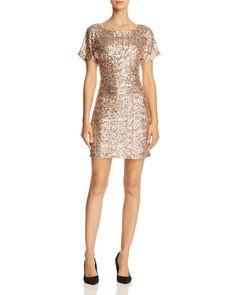 Molly Bracken Flutter-Sleeve Sequin Dress