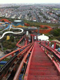 The Big Pepsi Max Ride in the Blackpool Pleasure Beach Theme Park, Blackpool Lancashire England Abandoned Theme Parks, Abandoned Amusement Parks, Universal Studios, Blackpool Pleasure Beach, Blackpool England, Beach Rides, Beach Themes, Budapest, Seaside