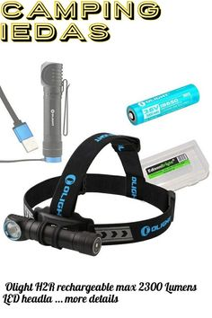 (This is an affiliate pin) Olight H2R rechargeable max 2300 Lumens LED headlamp/utility light with 18650 Li-ion battery, flex magnetic USB charging cable and EdisonBright BBX3 Battery case bundle (Cool White)