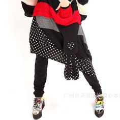 2013 autumn hiphop street pants irregular sweep patchwork faux two piece set dot casual trousers culottes