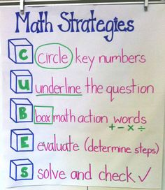 Math strategies for testing/word problems.