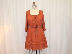 Rust cotton dress Folk women Clothes Summer fashion by MilaLem