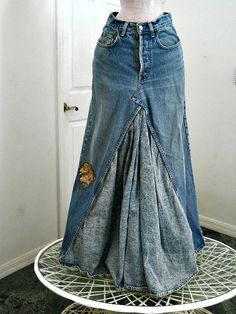 High waisted vintage ballroom jean skirt taupe by bohemienneivy