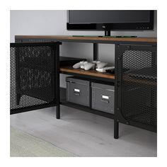 IKEA - FJÄLLBO, TV unit, , This rustic metal and solid wood TV bench has an open back, so it's easy to arrange cords and cables.You can place electronic equipment behind the metal mesh doors since they allow signals to get through from your remote control.The storage unit stands steady on uneven floors since it has adjustable feet.