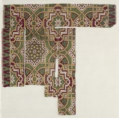 Silk Fragment, 14th-15th century  Spain, Islamic period, 14th-15th century  lampas weave, silk, Average - h:31.10 w:30.50 cm (h:12 3/16 w:12 inches). Thirty-fifth anniversary gift 1951.399. Cleveland Museum of Art.