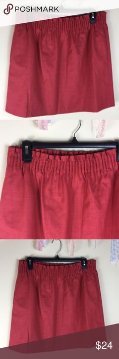 """/j crew/ wool sidewalk skirt Lined elastic waist wool skirt with pockets.  Waist laying flat 15"""" Length 17"""" Model shown for fit. This skirt for sale is red. J. Crew Factory Skirts"""