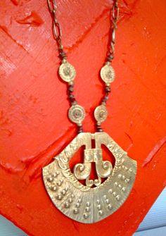 UNIKAT / HALSKETTE goldfarbenes Amulett griechisch-römisch / in Uhren & Schmuck, Modeschmuck, Halsketten & Anhänger | eBay