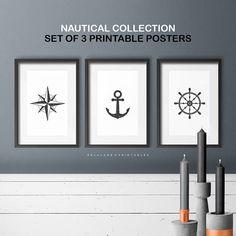 Affiches À IMPRIMER  Set de 3  Collection Nautique