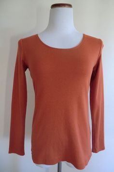 NEW J.JILL DARK ORANGE 100% PIMA COTTON SCOOP NECK LONG SLEEVE TEE/ TOP SP #JJill #KnitTop #Casual