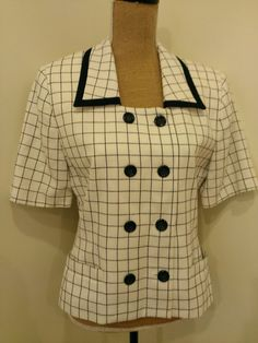 23d92216545 Items similar to Vintage Ladies Blazer - Black   White Short Sleeved Jacket  - Grid Pattern - Kim Rogers - Size 8 - Excellent Condition on Etsy