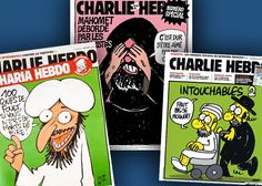 Take a look at Charlie Hebdo. Article is in English, some of the cartoon captions are translated.