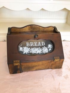 Your place to buy and sell all things handmade Wooden Bread Box, Bread Boxes, Bread And Roses, My Etsy Shop, Rustic, Retro, Glass, Handmade, Stuff To Buy