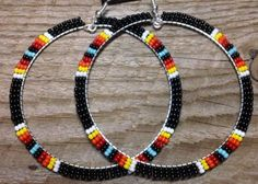 Native American Style Wide Hoop HANDBEADED Earrings Black