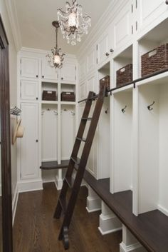 Mud Room- With open lockers, White enamel and sliding ladder.