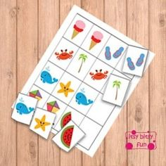 Freebie - Summer Patterns (What Comes Next) File Folder Game - From itsybitsyfun.com - D