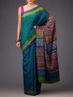 Sea Green Olive Tussar Silk Kantha Embroidered Saree Sarees Art Reveal Tales Online at Jaypore.com