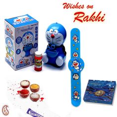 Picture of Doraemon Bubble game and Rakhi Hamper Hampers Online, Bubble Maker, Big Bubbles, Rakhi Gifts, Gift Hampers, Doraemon, Games, Toys, Gift Baskets