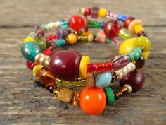 Boho bracelet, beaded bracelet, gift for her, boho jewelry, memory wire bracelet, tribal bracelet, wrap bracelet, gypsy bracelet, bracelet by reccabella on Etsy