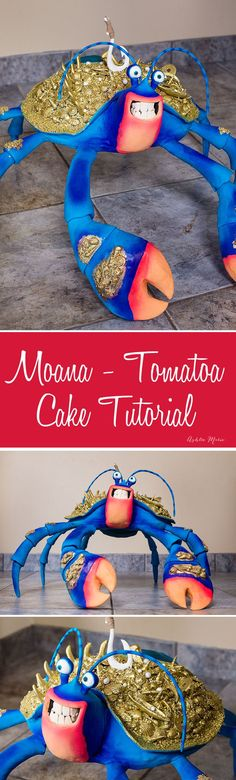 video tutorial for a huge carved tamatoa cake life sized coconut crab Apfel Kuchen Moana Party, Moana Birthday Party, Birthday Cakes, Birthday Party Decorations, Party Themes, Party Ideas, Party Party, Birthday Ideas, Coconut Crab
