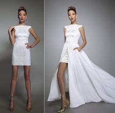 Veruschka convertible wedding dress with pockets and train bare back bridal…
