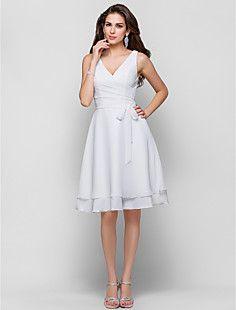 -Line V-kaula-aukko Polvipituinen Sifonki Cocktail Dress – EUR € 96.02