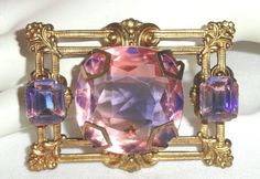 Vtg Weiss Watermelon Rhinestone Pin Brooch Pink Purple  #Weiss