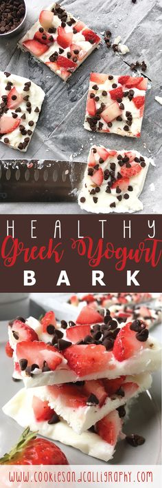 HEALTHY GREEK YOGURT BARK | This Greek Yogurt Bark is so easy to throw together, and can be customized in so many ways! We love to throw some together at the beginning of the week and store in the freezer for those moments that you just need something to snack on. We cut into small portions simply to provide easier nutritional information for this post, but feel free to break into small pieces (just like you would with chocolate candy bark) for a quick and easy snack option!