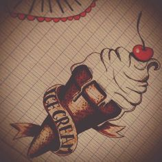 Oldscool icecream ice cream, tattoo old school tattoo oldschool. Dont drop it on the ribbon, for papa.