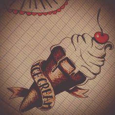 Oldscool icecream ice cream,  tattoo  old school tattoo  oldschool