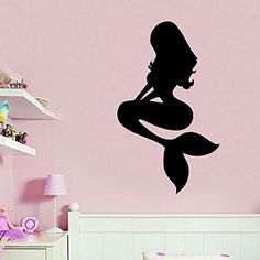 Wall Decals Vinyl Decal Sticker Bedroom Home Interior Design Art Mural Girl Mermaid Sea Ocean Water Nymph Kids Nursery Baby Room Decor ** Click on the image for additional details. (This is an affiliate link and I receive a commission for the sales)