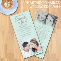 Mint Fade Simple Wedding Program Suite | Instant Download | Photo Wedding Program | PSD File | Printable