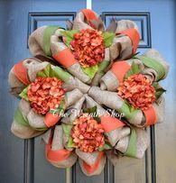 Fall Hydrangea Wreath - Burlap