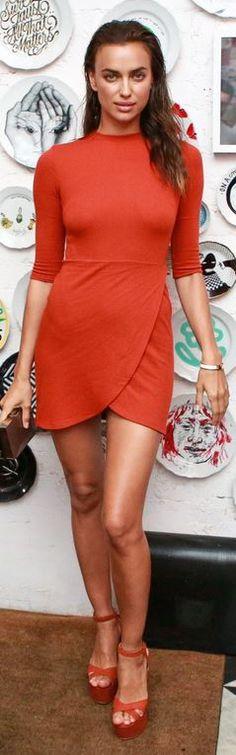 3ad5ca16c41 Who made Irina Shayk s platform sandals and orange short sleeve dress   Russian Fashion