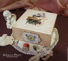 "Купить ""Домашний кутюрье"" - коробка для рукоделия. Декупаж, винтаж - бежевый, Декупаж, шкатулка, шкатулка деревянная"