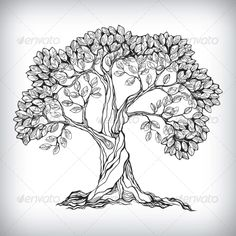 Hand Drawn Tree Symbol - Flowers & Plants Nature