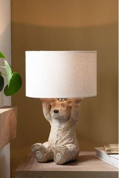 Table Lamps Uk, Natural Table Lamps, Nursery Lighting, Home Lighting, Nursery Lamps, Bear Nursery, Woodland Nursery, Bedside Table Lamps, Baby Boy Rooms