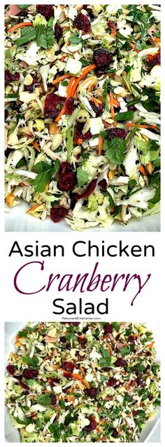 Do you love a good Asian Chicken Salad? Then you'll love the flavors of Asian Chicken Cranberry Salad, a delicious potluck or holiday salad or main dish! Healthy Salads, Healthy Eating, Healthy Recipes, Savory Salads, Soup And Salad, Pasta Salad, Salad Bar, Big Salad, Cranberry Salad Recipes