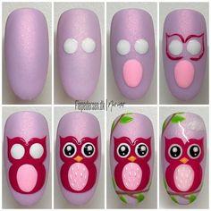 Owl Nail Art, Owl Nails, Funky Nail Art, Animal Nail Art, Funky Nails, Cute Nail Art, Nail Art Diy, Easy Nail Art, Minion Nails