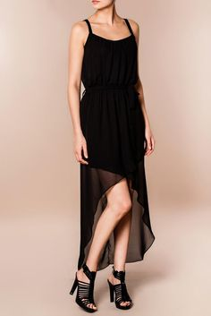 Rochie asimetrica neagra model AVA, din voal. Black Friday, High Low, Ballet Skirt, Casual, Skirts, Model, Dresses, Fashion, Vestidos