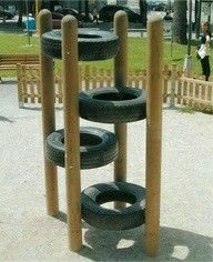 Play equipment for the kids and reusing those old tires we have in t… Tire climb. Play equipment for the kids and reusing those old tires we have in the shed. Kids Outdoor Play, Outdoor Play Spaces, Kids Play Area, Backyard For Kids, Modern Backyard, Play Areas, Backyard Toys, Outdoor Toys, Indoor Play