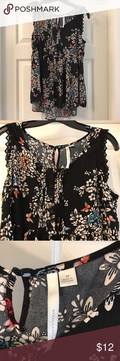 M Lauren Conrad black floral tank High low style with lace detailing on trim. Amazing floral print. Very flattering. I wear a L and this fit me fine. EUC. Worn and washed once. Looks wonderful with jeans! LC Lauren Conrad Tops Tank Tops
