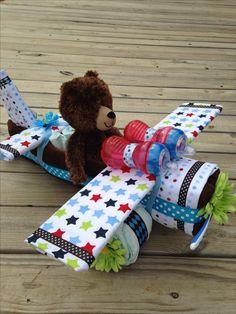 Teddy Bear Airplane Diaper Cake