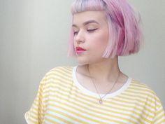 laurannah pink chin length bob with baby bangs