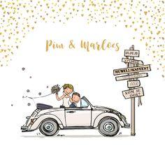 Trouwkaart Volkswagen kever cabrio, verkrijgbaar bij #kaartje2go voor € 1,99 Wedding Anniversary Invitations, Wedding Invitation Card Design, Wedding Card Design, Invitation Cards, Wedding Day Cards, Wedding Car Decorations, Wedding Illustration, Engagement Cards, Wedding Frames
