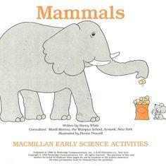 Mamals MacMillan Early Science Activities Work Sheet Habitat Identify Observe  #MacMillan #WorkSheets